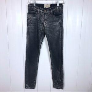 Current/Elliot Silver Coates Foil Stiletto Pants